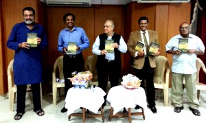 From Left to Right: Indra's Net Bangalore Launch on 18th Jan 2014:  Mr. TV Mohandas Pai, Mr Murali, Mr Rajiv Malhotra, Mr. Mysore Prasanna, Prof R Vaidyanathan